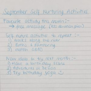 september review of daily self nurturing activities