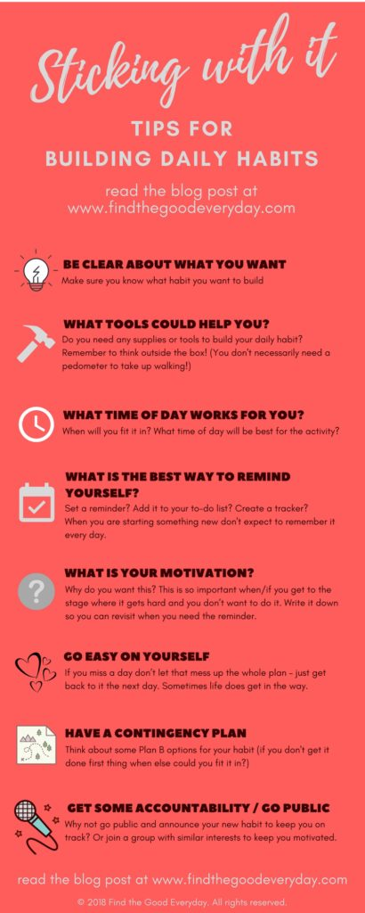Building daily habits infographic sharing tips
