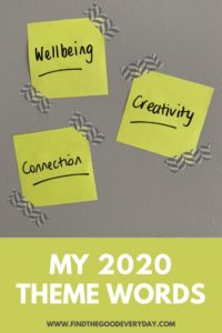 My 2020 Themes Pin with Post-It's showing words Wellbeing, Creativity and Connection