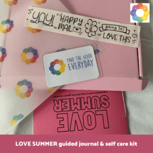A sneak peek at the LOVE SUMMER guided journal and self care kit.