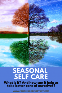 Pin Image entitled Seasonal Self Care - what is it? And how can it help us take better care of ourselves. The image shows a tree reflected in water and is split into quarters depicting the 4 seasons.