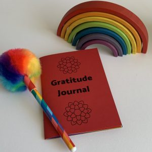 Find the Good Everyday Rainbow Gratitude Journal with a rainbow pen and rainbow wooden ornament.